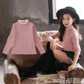 女童T恤女童打底衫新款韓版加厚高領長袖t恤秋冬款洋氣兒童上衣 童趣屋