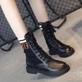 馬丁靴英倫風新品短靴女秋冬季彈力襪子靴學生中筒平底機車靴
