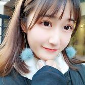 冬季新款耳環女氣質韓國個性百搭毛球耳墜毛絨耳飾甜美耳夾無耳洞  可然精品
