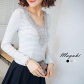 東京著衣-宮廷蕾絲花橫條紋上衣-S.M(6027698)