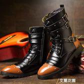 馬丁靴男英倫風男鞋軍靴男士冬季加絨保暖中筒高筒工裝靴棉靴子潮『艾麗花園』