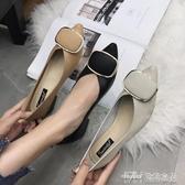 韓版時尚尖頭金屬方扣粗跟女鞋軟底防滑單鞋V口舒適單鞋 雙十二特惠