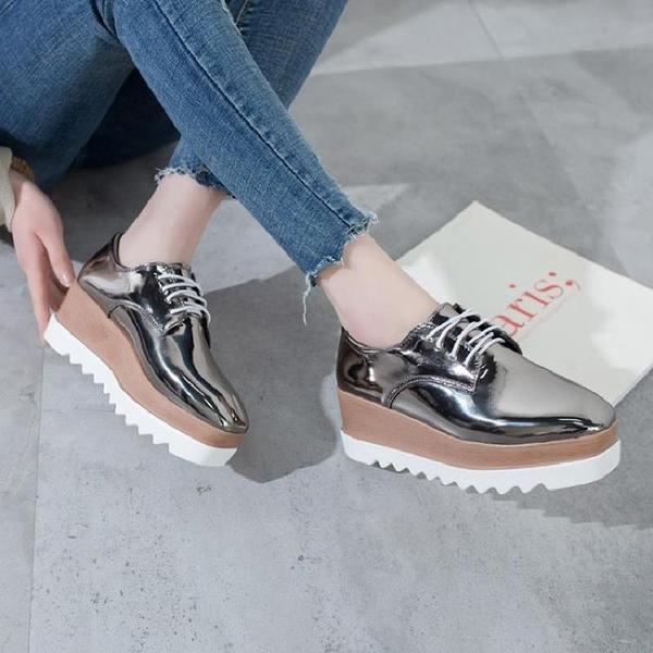 厚底鞋 鬆糕鞋2020新款小皮鞋厚底增高韓版學院風單鞋