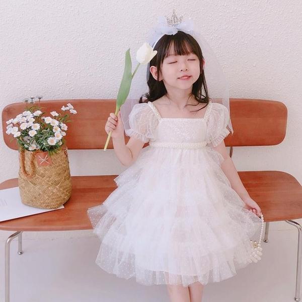 花童白紗裙兒童禮服公主裙蓬蓬紗蛋糕裙女童生日禮裙小孩的婚紗裙-年終穿搭new Year