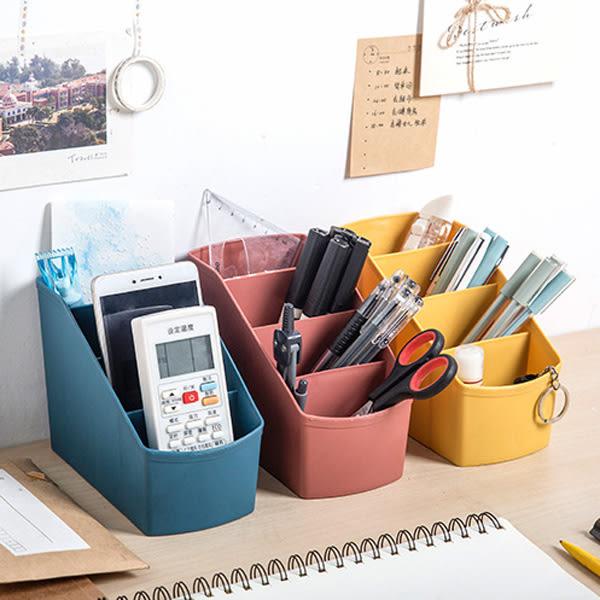 【BlueCat】遙控器文具整理素面斜口四格筆筒 收納盒