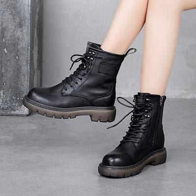 歐美系帶馬丁靴 側拉鏈休閒短靴 真皮手工女靴/2色-夢想家-標準碼-0925