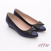 effie 街頭甜美 全真皮立體蝴蝶結飾楔型鞋 藍色