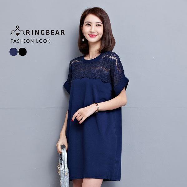 長上衣--優美透膚蕾絲剪接側邊口袋氣質短袖連身裙(黑.藍L-3L)-U491眼圈熊中大尺碼