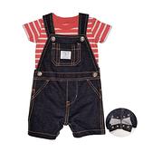 【北投之家】男寶寶吊帶褲套裝 牛仔吊帶短褲+T恤上衣 二件組 深藍紅橫條 | Carter s卡特童裝