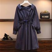 中大尺碼L-4XL時尚洋裝連身裙韓版胖mm早秋200斤洋氣减齡寬鬆純棉襯衫連衣裙R18A-8516