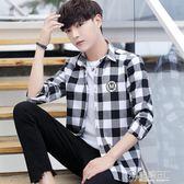 黑白格子襯衫男土長袖韓版初中高中學生帥氣外穿襯衣男士潮牌外套 電購3C