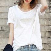 棉麻寬鬆白色T恤女短袖體恤半截袖上衣服