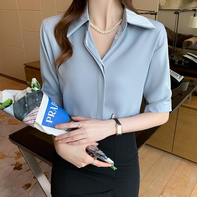 小衫爆款雪紡襯衫職場輕熟風女裝上班族穿搭五分中袖上衣T315依佳衣