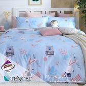 天絲床包兩用被四件組 雙人5x6.2尺 守望  頂級天絲 3M吸濕排汗專利 床高35cm  BEST寢飾