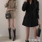 網紅垂感炸街小西裝外套女春秋韓國版英倫風寬鬆休閒黑色西服上衣 可然精品