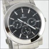 【萬年鐘錶】SIGMA 黑 三眼時尚腕錶 8807M-1
