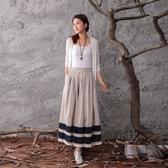 棉麻長裙-青春雙線條設計半身女裙子73hr10【巴黎精品】