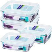 強化玻璃微波保鮮盒便當盒大容量保鮮4件組Glasslock-大廚師百貨