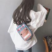 後背包ins超火撞色帆布胸包女2019新款韓版多用腰包側背斜背包后  愛丫愛丫