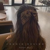 髮夾 復古頂夾蝴蝶結兔耳朵后腦勺發卡vintage布紋老花發夾頭飾女