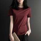 純色絲光棉短袖t恤女含棉新款寬鬆大碼200斤簡約半袖打底衫i 快速出貨
