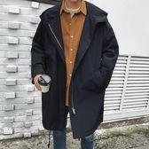 風衣男士中長款韓版帥氣寬鬆連帽夾克外套春秋季風衣潮男秋裝休閒大衣限時一天下殺8折