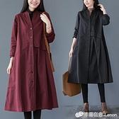 風衣 薄款風衣女中長款秋裝新款文藝寬鬆休閒氣質外套顯瘦過膝大衣 檸檬衣舍