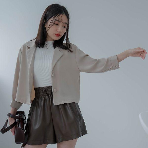 MIUSTAR 質感袖反摺短版西裝外套(共4色)【NJ2265】預購