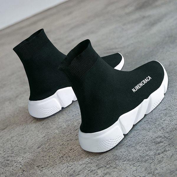 襪子鞋女網紅女鞋春季新款潮鞋休閑高幫彈力加絨運動短靴