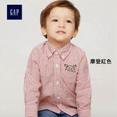 Gap男嬰幼童 新年款簡約舒適長袖條紋襯衫 398426-摩登紅色