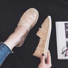草編鞋 春季漁夫鞋女平底小香鏤空懶人鞋一腳蹬帆布鞋女亞麻草編布鞋-Ballet朵朵