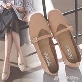 高跟鞋 新款方頭粗跟中跟復古奶奶鞋一字扣單鞋韓版女鞋工作鞋高跟鞋 中秋節