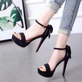 高跟鞋 12cm超高跟鞋細跟防水臺性感一字扣小清新露趾女涼鞋   琉璃美衣