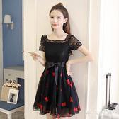 中大尺碼短袖洋裝 新款時尚氣質顯瘦繫帶網紗裙子女裝蕾絲連衣裙 EY4441 『MG大尺碼』