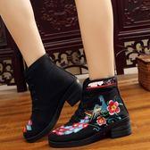 秋冬新款休閒女靴繡花單靴子民族風復古馬蹄跟時尚古風鞋短靴