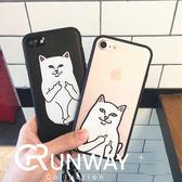 中指貓 情侶 iphone 7 Plus 蘋果7 個性 創意 掛繩 全包 防摔 貓咪 iphone7/8plus 保護套