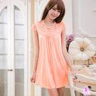 睡衣  性感睡衣 韓版粉橘蕾絲小蓋袖柔緞情趣性感睡衣 星光密碼D069