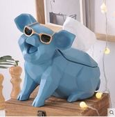 北歐紙巾盒客廳茶几可愛創意豬抽紙盒【淺藍款】