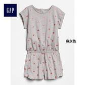 Gap女童 舒適印花卷袖連身褲 308543-麻灰色