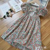 網紅女童洋裝夏新款夏季韓國純棉童裝洋氣碎花夏裝裙子 海角七號