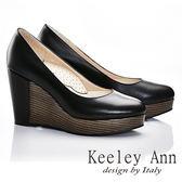 ★零碼出清★ Keeley Ann 質感素面~全真皮好感簡單圓頭厚底楔型鞋(黑色)