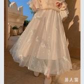 白色網紗半身裙女夏半身長裙亮片仙女紗裙中長款超仙a字裙子春秋TZ192【男人範】