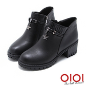 短靴 金屬綴飾雙拼側拉鍊粗跟短靴(黑) *0101shoes【18-1712bk】【現貨】
