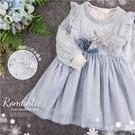 優雅織花朵細緻網紗長袖洋裝(300324...