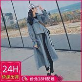 免運★梨卡 - 韓國高品質挺版寬鬆長版卡其色顯瘦綁帶立領西裝防風外套風衣長大衣AR085
