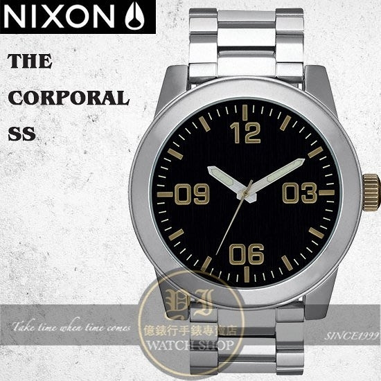 NIXON 實體店The Corporal 腕錶/48mm/BLACK / BRASS/A346-2222公司貨/極限