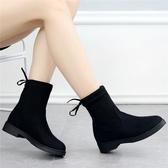 短靴女靴子2019新款加絨百搭顯瘦彈力靴冬季韓版潮平底學生馬丁靴 伊衫風尚