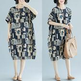 棉麻 日本風印花顯瘦洋裝-大尺碼 獨具衣格 J2570