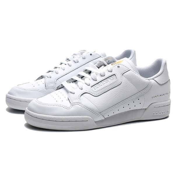 ADIDAS CONTINENTAL 80 RASCAL 全白 皮革 燙金 休閒鞋 男 (布魯克林) FU9203