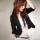 小西服女士外套韓版修身大碼七分袖百搭小西裝短款半袖工作服 印象家品